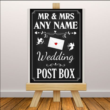 Personalised Vintage Wedding Money & Cards Post Box Sign Poster Banner - Chalkboard Style Print N111